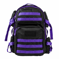 Tactical Backpack - Black with Purple Trim