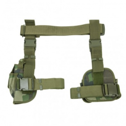 Drop Leg Holster & Mag Pouch X4 Woodland Camo