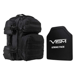 "TACTICAL BACKPACK WITH 10""x12"" LEVEL III+ SHOOTERS CUT PE HARD BALLISTIC PLATE/ BLACK"