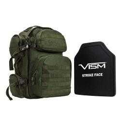 "TACTICAL BACKPACK WITH 10""x12"" LEVEL III+ SHOOTERS CUT PE HARD BALLISTIC PLATE/ GREEN"