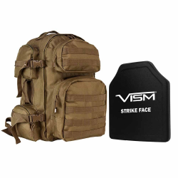 "TACTICAL BACKPACK WITH 10""x12"" LEVEL III+ SHOOTERS CUT PE HARD BALLISTIC PLATE/ TAN"