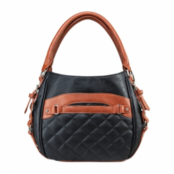 Quilted Hobo Medium - Black w/Brown Trim