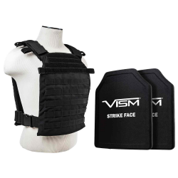 "FAST PLATE CARRIER WITH 10""X12' LEVEL III+ PE SHOOTER'S CUT 2X HARD BALLISTIC PLATES/ BLACK"