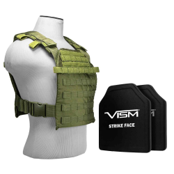 "FAST PLATE CARRIER WITH 10""X12' LEVEL III+ PE SHOOTER'S CUT 2X HARD BALLISTIC PLATES/ GREEN"
