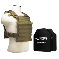 "FAST PLATE CARRIER WITH 10""X12' LEVEL III+ PE SHOOTER'S CUT 2X HARD BALLISTIC PLATES/ TAN"