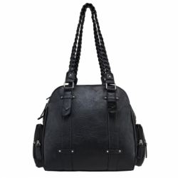 Braided Shoulder Bag- Black