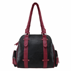 Braided Shoulder Bag- Black W/Burgundy